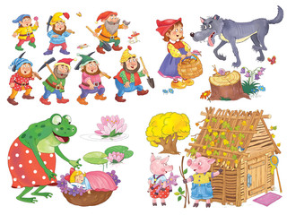 Small set of fairy tale illustrations. Snow White and seven dwarfs. Three little pigs. Thumbelina. Coloring page. Coloring book. Cute and funny cartoon characters