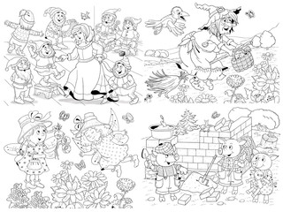 Small set of fairy tale illustrations. Snow White and seven dwarfs. Three little pigs. Cute fairies and a witch. Coloring page. Coloring book. Cute and funny cartoon characters