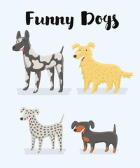 Different kind of puppy dogs illustration