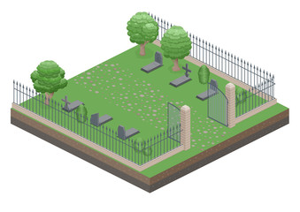 Open Gate to the old cemetery. Isometric view. Vector flat illustration.