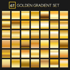 Metal golden gradients. Vector square gold gradient texture collection for design