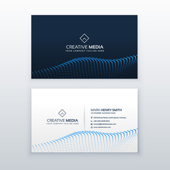 creative concept of business card design with blue particles wave