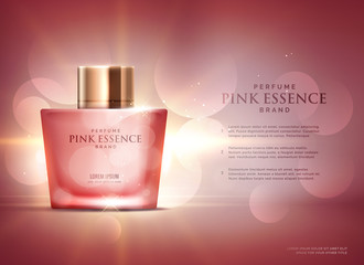 awesome perfume essence advertisement concept design template with beautiful bokeh background