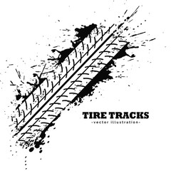 tire track impression on white background