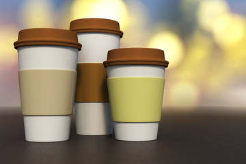 3d rendering of a set of coffee cup various size on a dark wooden with bright yellow bokeh background.