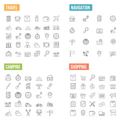 Travel and Shopping Line Icons