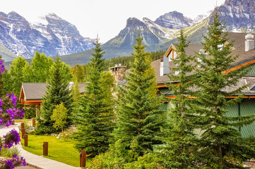 Mountain view from a resort in Lake Louise town showing how close can you be to nature in this location. Lake Louise, Banf National Park, Alberta, Canada.