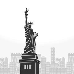 New York Statue of Liberty Symbol Vector Illustration
