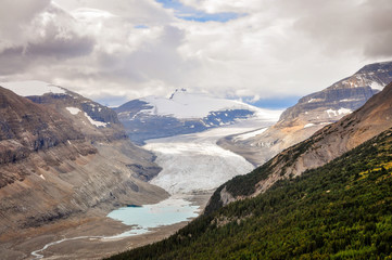 Saskatchewan glacier located near the Columbia Icefields in Banff National Park, Alberta, Canada.