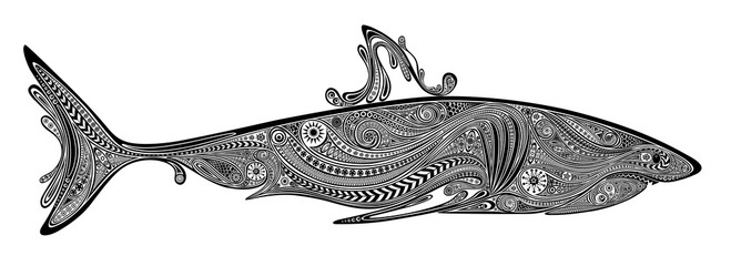 Vector silhouette of a shark of beautiful patterns