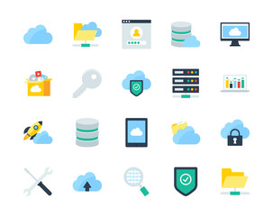 Cloud and network flat icons set