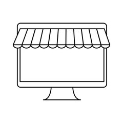 monitor computer icon over white background. vector illustration
