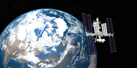 Extremely detailed and realistic 3d image of ISS international space station orbiting Earth. Shot from outer space. Elements of this image have been furnished by nasa.
