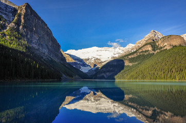 Clear reflections into the water at lake Louise, Banff National Park, Alberta, Canada.