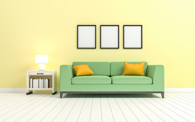 Mock up in the minimalist style living room, 3d rendering