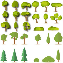 Set of coniferous and deciduous green trees