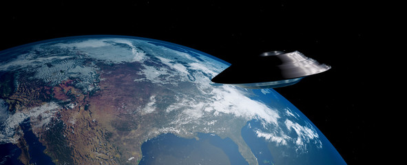 Extremely detailed and realistic 3d image of an ufo / flying saucer orbiting Earth. Shot from outer space. Elements of this image have been furnished by nasa.