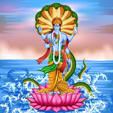 Lord Vishnu standing on lotus giving blessing