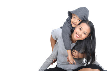 Asian Mother and Asian kid , isolated on white background