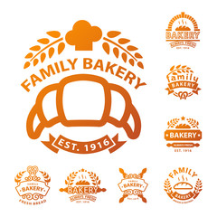Bakery gold badge icon fashion modern style wheat vector retro food label design element isolated.