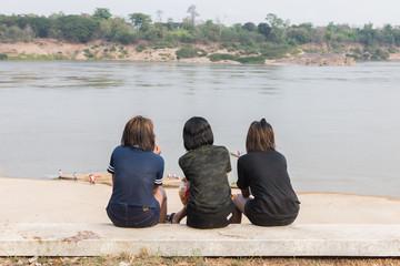Three Women Along the Mekong River