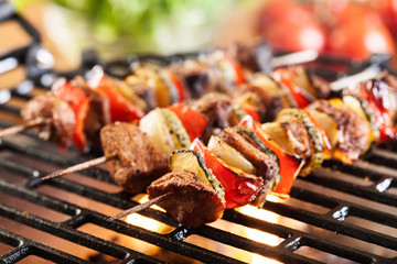 Zelfklevend Fotobehang Grill / Barbecue Grilling shashlik on barbecue grill