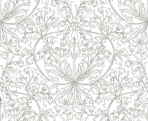 Floral seamless pattern for your design. Modern fabric design pattern. Floral seamless pattern for coloring.