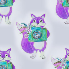 Seamless fox pattern with camera on white background.
