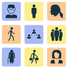 People Icons Set. Collection Of Delivery Person, Gentlewoman Head, Jogging And Other Elements. Also Includes Symbols Such As Group, Woman, Relation.