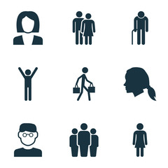 Human Icons Set. Collection Of Female, Delivery Person, Happy And Other Elements. Also Includes Symbols Such As Courier, Businesswoman, Woman.