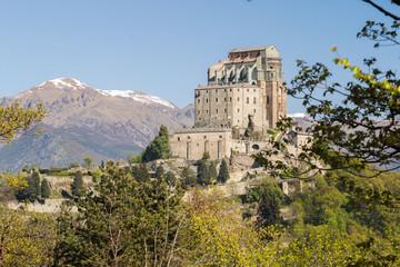 Sacra di San Michele (Saint Michael Abbey) on Mount Pirchiriano in St Ambrogio, north west Italy..