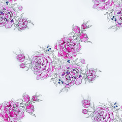 Seamless pattern of beautiful violet peonies on a white background.