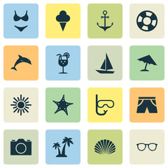 Sun Icons Set. Collection Of Trees, Dinghy, Parasol And Other Elements. Also Includes Symbols Such As Dolphin, Smelting, Cocos.