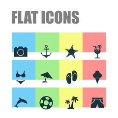Hot Icons Set. Collection Of Dinghy, Vitamin, Parasol And Other Elements. Also Includes Symbols Such As Suit, Camera, Cream.