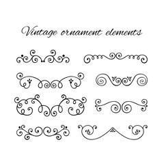 Set of decorative text divider. Victorian swirly ornaments vector. Floral line flourish symbols.