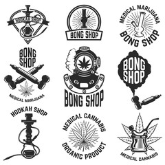 Hookah shop. Bong shop. Cannabis. Images for logo, label, emblem, sign, poster. Vector illustration.