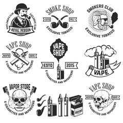Set of vape shop emblem templates. Smoke shop. Design elements for logo, label, badge, sign. Vector illustration