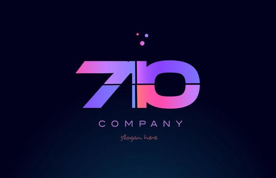 710 pink magenta purple number digit numeral logo icon vector