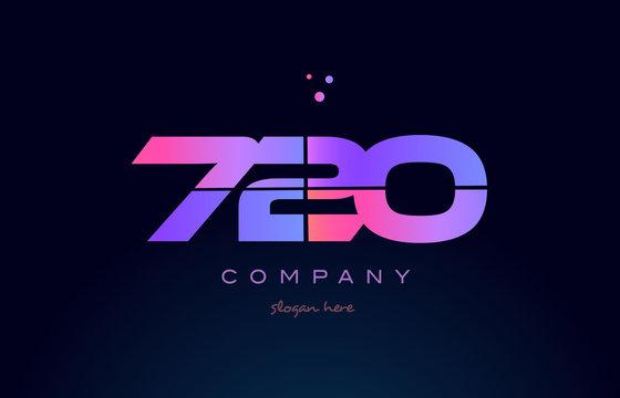 720 pink magenta purple number digit numeral logo icon vector