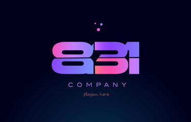 831 pink magenta purple number digit numeral logo icon vector