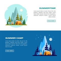 Summer time. Day and night landscape with yellow tent, campfire, forest and mountains on the background. Sport, camping, adventures in nature, vacation, and tourism vector banner.