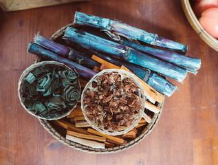 Thai herbs set in basket, herbal tonic