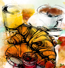 Color image of a cup of coffee with croissants. Watercolor effect. Illustration.