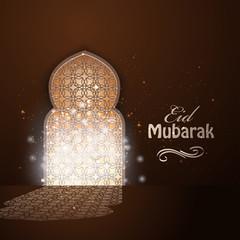 Arab traditional windows with light. Eid Mubarak greeting card vector