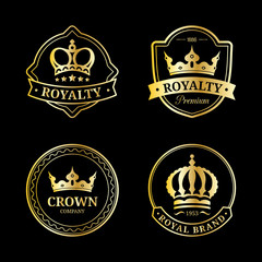 Vector crown logos set. Luxury corona monograms design. Diadem icons illustrations for hotel,boutique,business card etc.