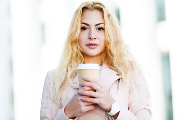 Woman with glass of coffee