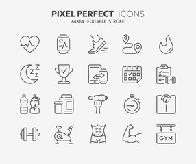 fitness and gym thin line icons 1