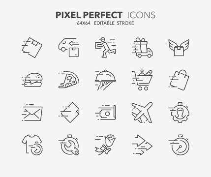 fast services thin line icons