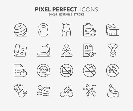 fitness and gym thin line icons 2