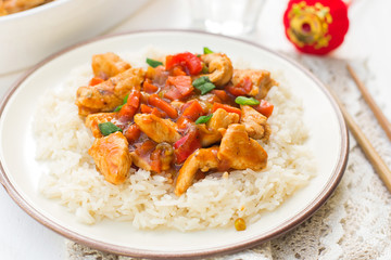 Sweet and sour turkey with bell peppers and carrots